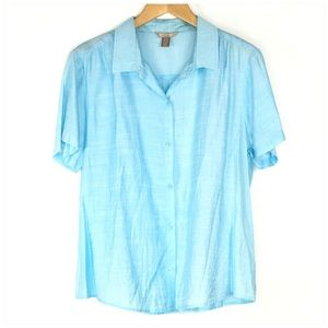 White Stag Blue Casual Button Up Shirt XL 16-18